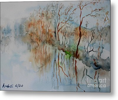 Metal Print featuring the painting Ice On River Rednitz by Alfred Motzer