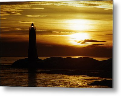 Ice On The Breakwall Winter Sunset Metal Print