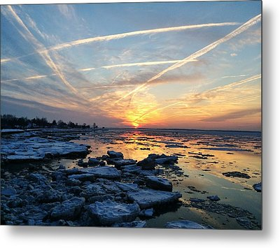Ice On The Delaware River Metal Print