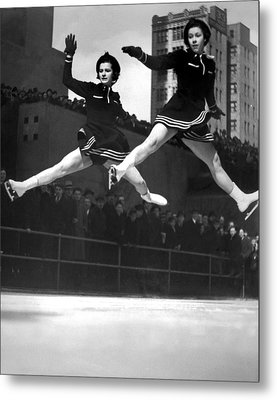 Ice Skaters Perform In Ny Metal Print