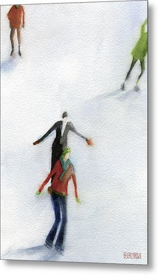 Ice Skaters Watercolor Painting Metal Print