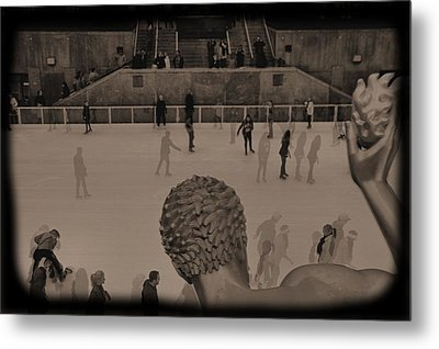 Ice Skating At Rockefeller Center In The Early Days Metal Print by Dan Sproul