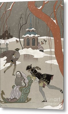 Ice Skating On The Frozen Lake Metal Print