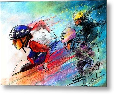 Ice Speed Skating 02 Metal Print by Miki De Goodaboom