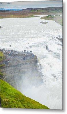 Gullfoss Waterfall Iceland Zoom Metal Print