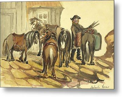 Icelandic Horses Circa 1862 Metal Print by Aged Pixel