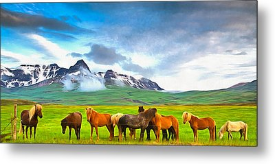 Icelandic Horses In Iceland Painting With Vibrant Colors Metal Print by Matthias Hauser