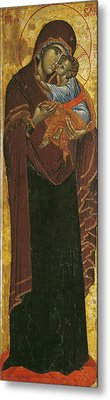 Icon Known As The Virgin Of Tsar Dushan, C.1350 Tempera On Panel Metal Print by Yugoslavian School