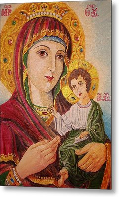 Metal Print featuring the painting Icon by Nina Mitkova