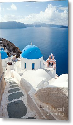 Iconic Blue Domed Churches In Santorini - Greece Metal Print by Matteo Colombo