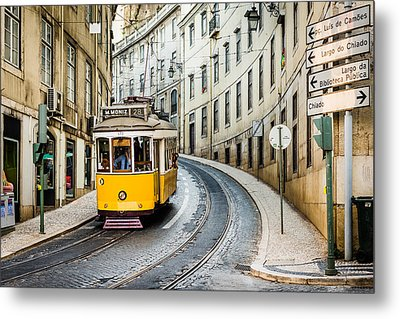 Iconic Lisbon Streetcar No. 28 IIi Metal Print by Marco Oliveira