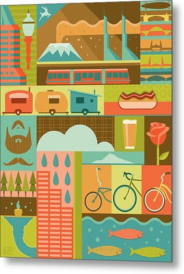 Iconic Portland Metal Print by Mitch Frey