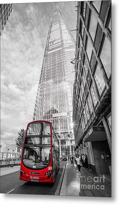 Iconic Red London Bus With The Shard - London - Selective Colour Metal Print