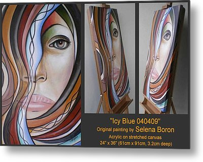 Metal Print featuring the painting Icy Blue 040409 Comp by Selena Boron