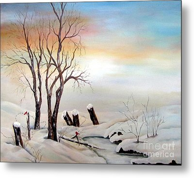 Metal Print featuring the painting Icy Dawn by Anna-maria Dickinson