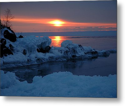 Metal Print featuring the photograph Icy Lake Superior Sunrise by Sandra Updyke