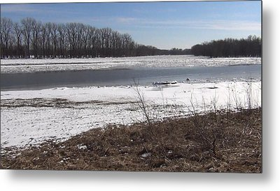 Icy Wabash River Metal Print by Tony Mathews