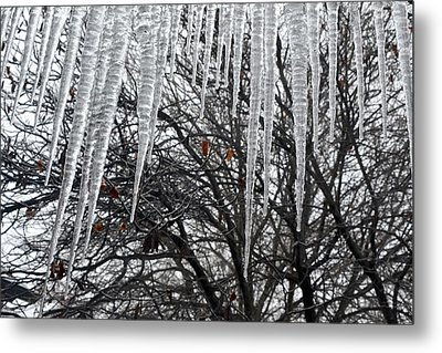 Icycles On The Eave Metal Print