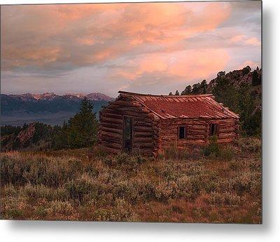 Idaho Pioneer Historical Cabin Metal Print by Leland D Howard