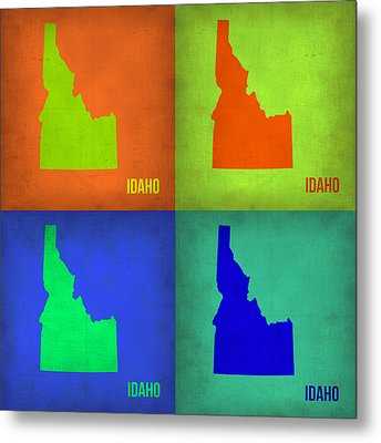 Idaho Pop Art Map 1 Metal Print by Naxart Studio