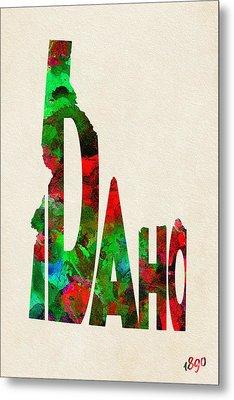 Idaho Typographic Watercolor Map Metal Print by Ayse Deniz