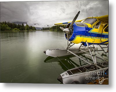 Idle Float Plane At Juneau Airport Metal Print by Darcy Michaelchuk