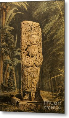 Idol At Copan By Frederick Catherwood Metal Print by John  Mitchell