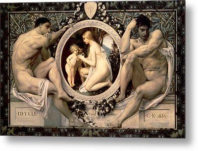 Idylle Metal Print by Gustav Klimt