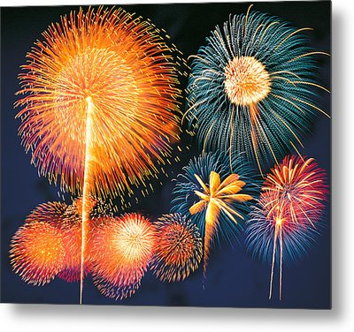 Ignited Fireworks Metal Print