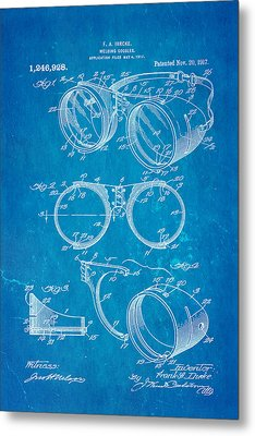 Ihrcke Welding Goggles Patent Art 1917 Blueprint Metal Print by Ian Monk