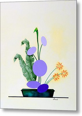 Ikebana #2 Green Pot Metal Print by Thomas Gronowski