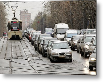 Illegally Parked Cars Next To Tramline Metal Print by Science Photo Library