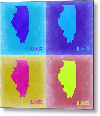 Illinois Pop Art Map 2 Metal Print by Naxart Studio