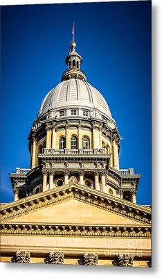 Illinois State Capitol Dome In Springfield Illinois Metal Print by Paul Velgos