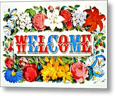 Illuminated Welcome Sign 1873 Metal Print by Padre Art
