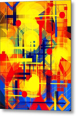 Illusion Of Night City Metal Print