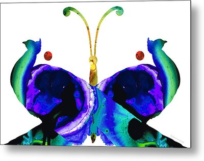 Illusion - Peacock Butterfly Art Painting Metal Print