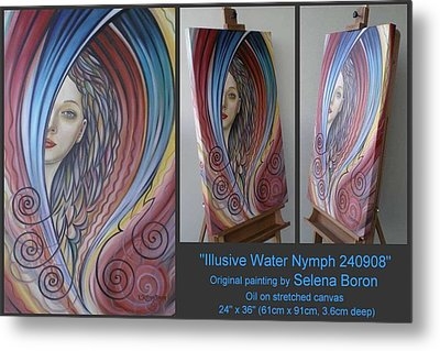 Metal Print featuring the painting Illusive Water Nymph 240908 by Selena Boron