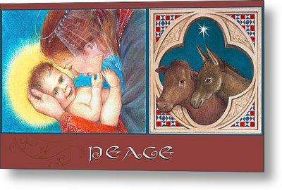 Metal Print featuring the painting Illustrated Madonna And Child  by Judith Cheng