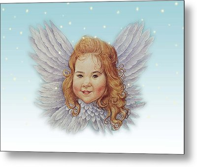 Illustrated Twinkling Angel Metal Print by Judith Cheng