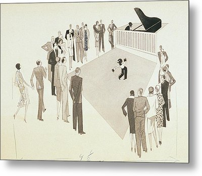 Illustration Of A Crowd Gathering To Watch Tap Metal Print by William Bolin