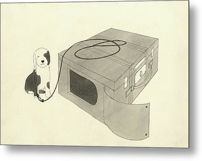 Illustration Of A Dog Beside A Travelling Case Metal Print by Jean Pages