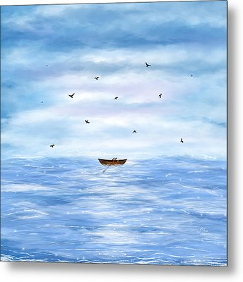 Illustration Of A Lonely Boat Metal Print