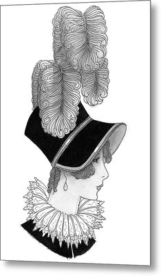 Illustration Of A Nineteenth Century Woman Metal Print by Claire Avery