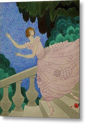 Illustration Of A Woman Running Down A Staircase Metal Print by Harriet Meserole