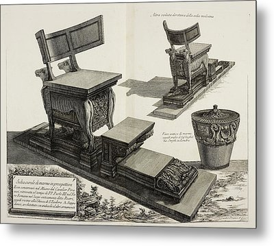 Illustration Of Antique Furniture Metal Print by British Library
