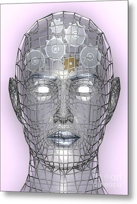 Illustration Of Cogs Or Gears In Human Head Metal Print by Christos Georghiou