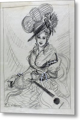 Illustration Of Mae West Wearing An Ostrich Metal Print