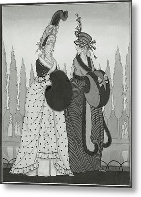 Illustration Of Two Eighteenth Century Women Metal Print by Claire Avery