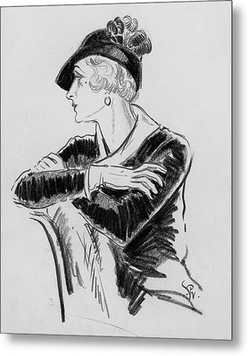 Illustration Of Woman Wearing Franklin Simon Hat Metal Print by Porter Woodruff